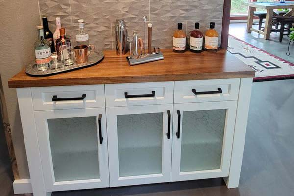 Frosted Cabinets for Bar Area