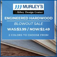 Engineered hardwood blowout sale at Murley's Floor Covering. Was $3.99, Now $2.49. Choose from 2 colors